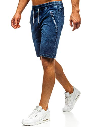 The Gangster Herren Kurzhose Jeanshose Sporthose Casual Short Hose Nature 5785 Dunkelblau 3XL [7G7]
