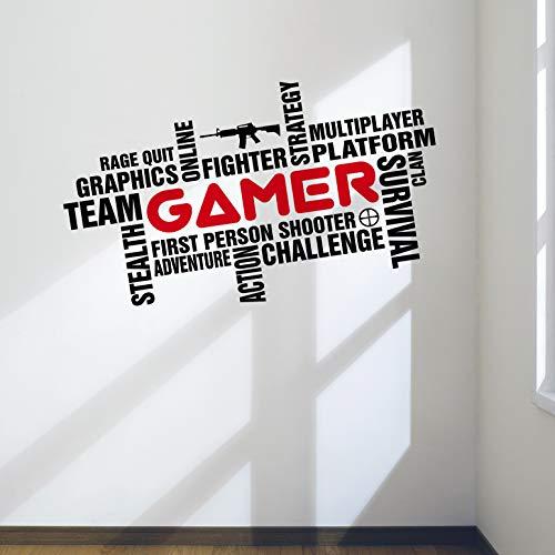 Pro Gamer Wand-Aufkleber, Wortwolke, Aufkleber für Spielzimmer, Schlafzimmer, Man-Cave large:100cm x 57cm