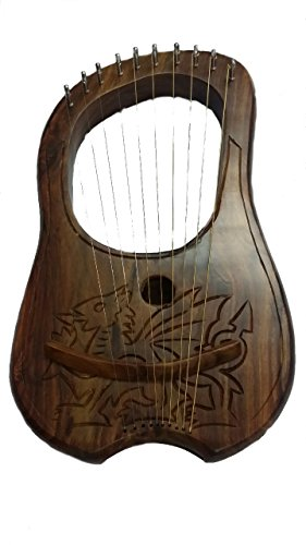 Lira con grabado de dragón celta galés, arpa de madera de sisu con dragón celta