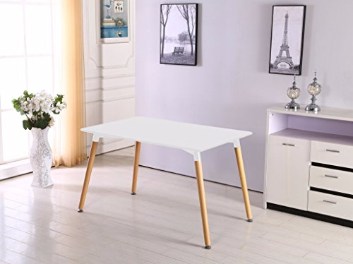 P&N Homewares® Halo Dining Table in White | Modern Design | Solid Wooden Legs
