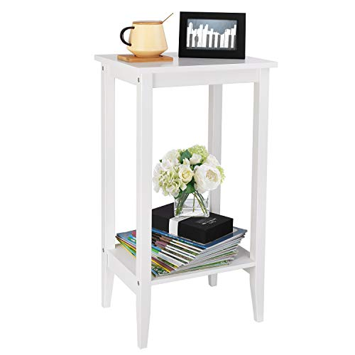 Homfa Tall Side Table End Table Bedside Table Sofa Table Slim Coffee Table with Shelf Storage Unit Wooden White 40 * 30 * 73.5cm 1 set