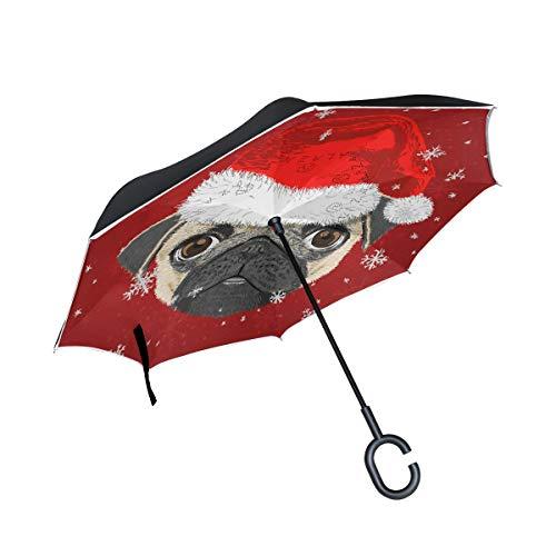 MAILIM Weihnachts-Hunde-Mops mit Hut, doppelschichtig, umgekehrter Regenschirm, Winddicht, mit C-förmigem Griff, UV-Schutz für Auto, Damen, Herren
