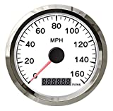 Z.L.FFLZ Velocímetro Velocímetro 85mm SPR GPS velocímetro 0-160MPH for el Carro del Coche de la Motocicleta del velocímetro cuentakilómetros (Color : WS, Size : Gratis)