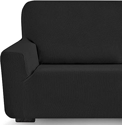 Funda elástica Sofa Adaptable rústica (2 Plazas (130-180 cn), Negro)