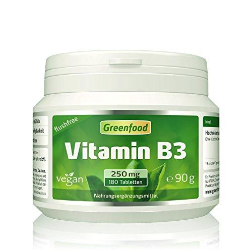 Vitamin B3, flushfree, 250 mg, hochdosiert, 180 Tabletten, vegan – für mehr Energie und Ausgeglichenheit. OHNE künstliche Zusätze. Ohne Gentechnik.