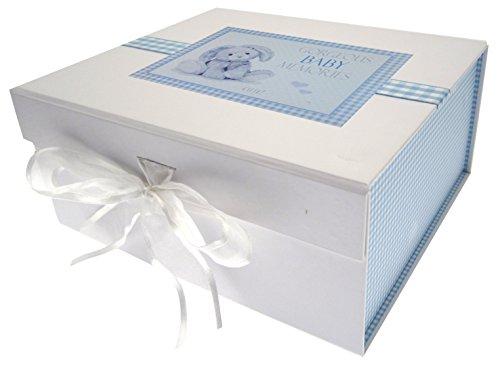 White Cotton Cards New Baby, Petite boîte Souvenir, Bleu Lapin, Tableau, Blanc, 20 x 23 x 10.7 cm