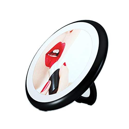 ILYPRO Miroir Maquillage Lumineux LED de Poche Dimmable 3 Luminosité Portable pour Voyage Sac à Main Miroir de Cosmétique Rechargeable USB Multifonction avec Prise du Doigt/Béquille sur Pied