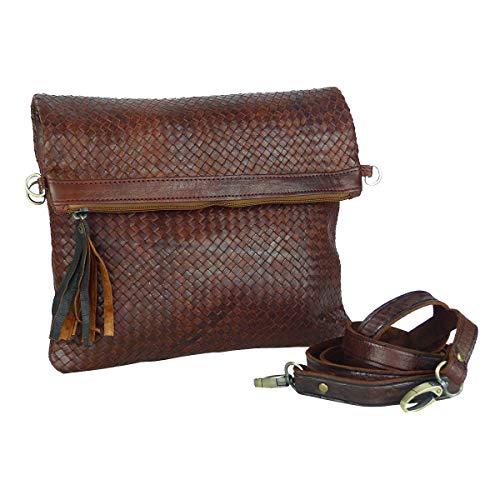 "Leder-Tasche ""Dafira"" in Dunkelbraun • marokkanische Umhängetasche in Flecht-Optik • elegant & klassisch • 100% Handarbeit aus Echt-Leder • Clutch geeignet - Simandra"