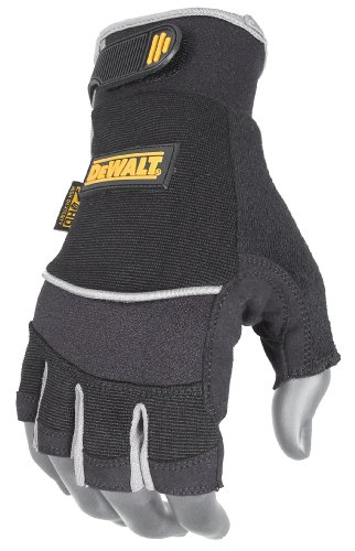DeWalt DPG230M Technicians Fingerless Synthetic Leather Glove, Medium
