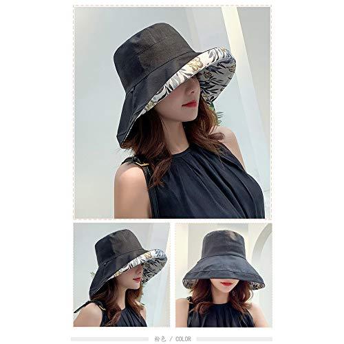 LINBUDAO Dames anti-ultraviolet brede rand katoen linnen zonnehoed dames vakantie zomer opvouwbare bucket hat grote rand hoed