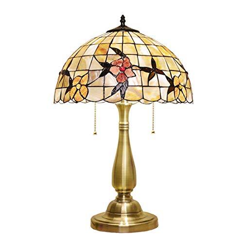 Lámpara de Mesa de Interior,Lámpara de Escritorio de Lectura con Vitrales Vintage,Lámpara de Noche Decorativa con Base de Cobre E27 con Pantalla de Concha para Sala de Estar de Dormitorio de Estudio