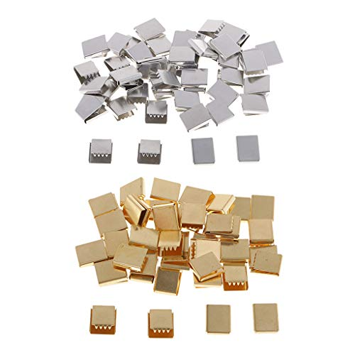 Perfeclan 100pcs Clamp Cord Crimp End Caps Tip for Bracelet Belt Strap Jewelry Finding