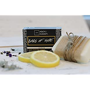 Health 2 Humanity Bars of Hope Lemon Soap - 100% Natural Ingredients - Cleanses, Moisturizes, and Restores - Pack of 6