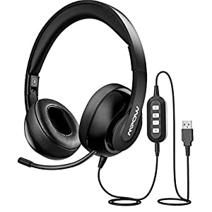 Mpow 3.5mm/USB Headsets, Foldable Computer Headset with Mute Function, PC Headphones with Retractable Microphone Noise…