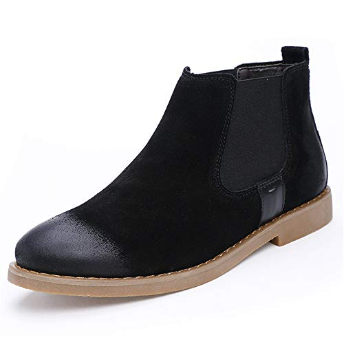 JCCOZ - URG Chelsea Botas de tobillo para hombre, estilo buey, piel de ante, color puro, estilo británico URG (color: negro, talla: 44 EU)