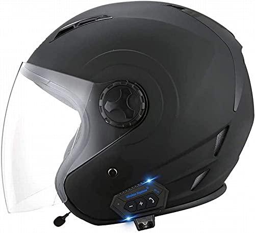 Casco de Motocicleta Integrado con Bluetooth Lente de Alta Definición Auricular y Micrófono Integrados Casco de Media Cara 3/4 Certificado por ECE E,M(56-57)