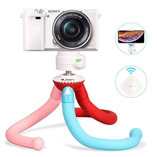 Fotopro Móvil Trípode, Teléfono Tripode Flexible con Bluetooth Remoto, Soporte de Cámara con Rótula de Bola, Portátil Trípode para iPhone, Xiaomi, Samsung, Huawei, Colorido