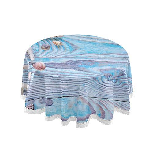SunsetTrip - Mantel redondo para mesa, diseño de estrellas de mar y concha de mar, decoración de encaje para exteriores, jardín, cena, fiesta, vacaciones (60 pulgadas)