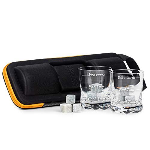 Froster Whisky Liebhaber Set im Extreme Case - Who Cares, 2 Gläser mit 3 Stufen Stimmung, 9 Steinwürfel