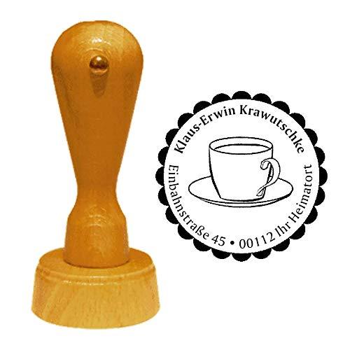 Stempel Adressstempel « KAFFEETASSE » Durchmesser ca. Ø 40 mm - mit persönlicher Adresse, Motiv und Zierrand - Kaffee Tasse Café Cafeteria