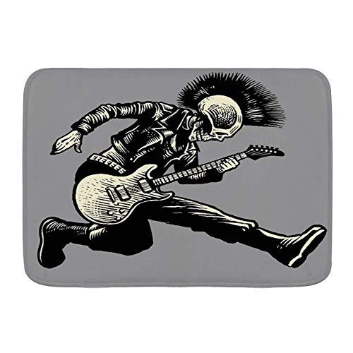 N\A Alfombra de baño Alfombra Antideslizante, Street Rock Skull Punk Guitarrista Vintage Act Music Skeleton Chaqueta Guitarra de Cuero, Microfibra Alfombras de baño Modernas Alfombra de baño Suave