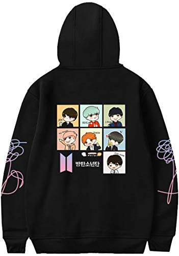 EMILYLE Mujer Love Yourself Dibujo Animado Comico Sudadera con Capucha V Jin Jimin Jung Kook Suga J-Hope Rap-Monster Boys BTS Moda L,1Negro