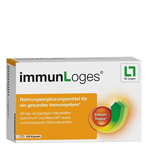 immunLoges Nahrungsergänzungsmittel für das Immunsystem - 120 Kapseln, enthält Spezial-Extrakt aus Spirulina-Alge und hochreine ß-Glucane sowie immunrelevante Mikronährstoffe
