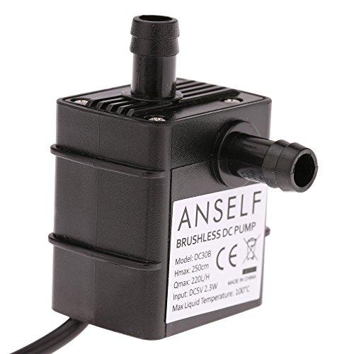 ANSELF - Bomba de Agua/Aceite/Líquido para Fuente Sumergible Acuario Circulación Impermeable & Sin Cepillo (MAX.Lift:2.5m,USB5V,2.3W,Mini Micro)