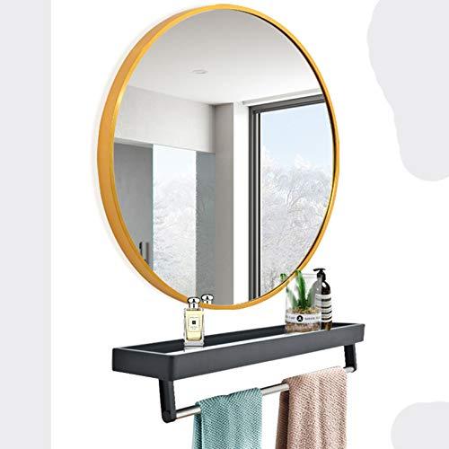 XIAOZHUZHU Espejo De Baño, Redondo De Aleación De Aluminio Espejo De Pared Espejo De Tocador Espejo De Alta Definición Espejo Decorativo De Baño + Estante De Almacenamiento Multifuncional,Dorado,40CM