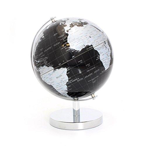 Lesser & Pavey Globe terrestre, Métal, Argenté/Noir, 19 cm