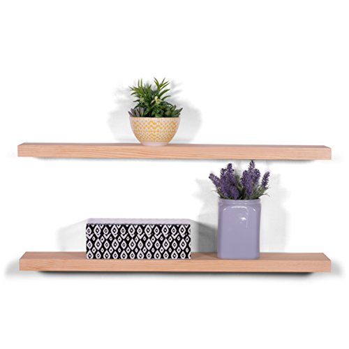 DAKODA LOVE 36' x 5.25' Clean Edge Solid Wood Floating Shelves | Premium Handmade Quality | Easy Hidden Bracket Wall Mount | Modern Rustic Pine | Set of 2 (Natural)
