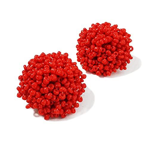 XCWXM Simple Multicolor Resina étnica Hecha a Mano Pendientes de Cuentas Mujeres Accesorios Bohemia geométricos aretes Moda joyería-Rojo