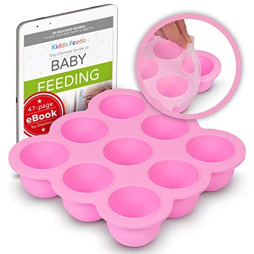 KIDDO FEEDO - Der original Portionierer zum Einfrieren von Muttermilch und Babykost mit Silikondeckel - BPA-frei - 9 x 75ml - Gratis eBook mit Rezepten und Ernährungstipps - Rosa