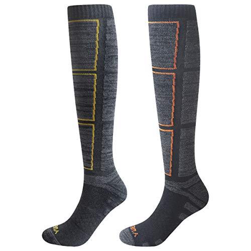 YUEDGE 2 Paare Lange Sportsocken für Herren Kniehoch Baumwolle Atmungsaktiv Thermal 38-43