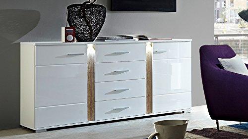 Möbel Akut Sideboard weiß Hochglanz Wohnzimmer Schrank Malibu mit LED Beleuchtung