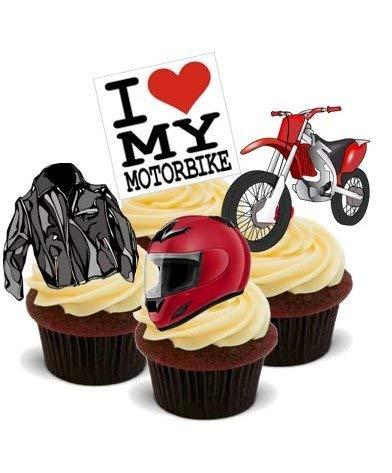 MOTORRAD MISCHUNG - - 12 essbare hochwertige stehende Kuchen Toppers - MOTORBIKE MIX