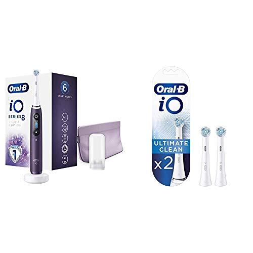 Oral-B iO 8 Cepillo Eléctrico Recargable Tecnología Braun, 1 Mango Morado, 1 Cabezal Recambio, 1 Funda Viaje Premium + Oral B iO Ultimate Clean Cabezales de recambio, Pack de 2 unidades