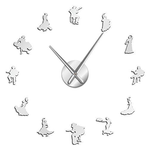 rrff Bailarines de Flamenco Efecto de Espejo Reloj de Pared de Gran Tiempo Silueta de Bailarina española Reloj de Pared Grande Estudio de Baile único Decoración de Arte de Pared