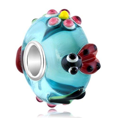 Korliya Ladybug Charm 925 Sterling Silver Murano Glass Bead For Bracelet