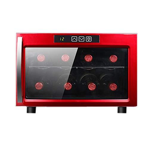 Nuitab 8 flessen wijnkoelkast 23 L wijnkoeler 12-18 ° C temperatuur zone 2 rekken drinken koelkast LED Light Red 52,5 × 41 × 27,3 cm