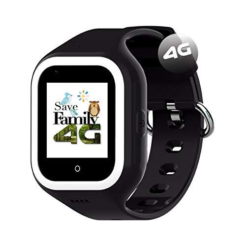 Reloj-Smartwatch 4G Iconic con Videollamada & GPS instantáneo Infantil y Juvenil SaveFamily. WiFi, Bluetooth, cámara, Fondos de Pantalla, identificador de Llamadas, Boton SOS Waterproof. (Negro)