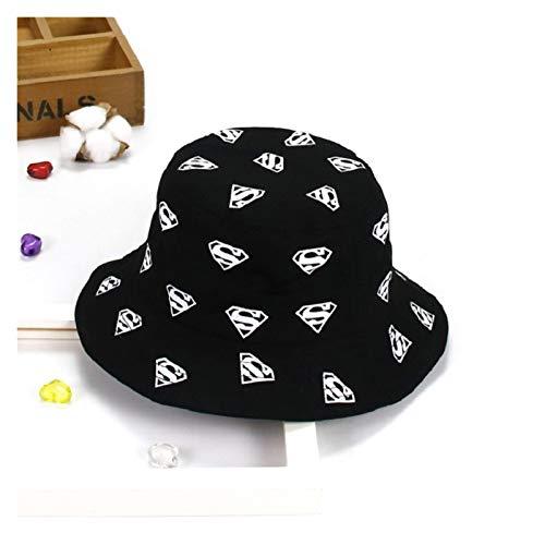 Htipdfg Sombrero Niños Sombrero de Verano Impresión para niños Sun Cap Girls Pescador Sombrero de Verano (Color : Black, Size : 1 3 Years(50cm))