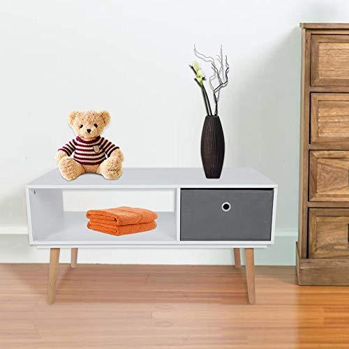 TV-meubel met vak en mand buffet lage tv-tafel woonkamer meubel TV woonkamer tafel salontafel TV met 1 bewaarmand modern voor woonkamer slaapkamer kantoor 90 x 48 x 47 cm