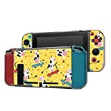 Dockable Case Compatible with Nintendo Switch Console and Joy-Con Controller, Patterned ( Funny pattern with funky cows on skates and kick scooters ) Protective Case Cover with Tempered Glass Screen