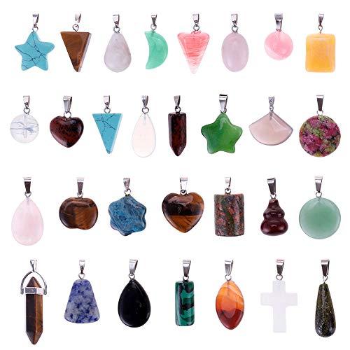 Niome Mix Random 30pcs Natural Stone Pendants Charms Jade Turquoise Stone Beads Bracelet Necklace Jewelry Findings Gemstone (Mix Styles)