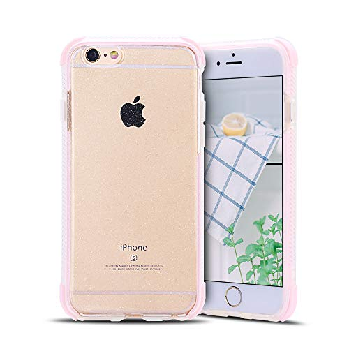 Anfire-ES Funda para iPhone 6 / 6S Plus Silicona Case, Transparente Carcasa de Suave Flexible Gel TPU Tapa Ultra Ligero [Esquinas Reforzadas] Bumper Caja Claro Protector Caso Cubierta Trasero - Rosa