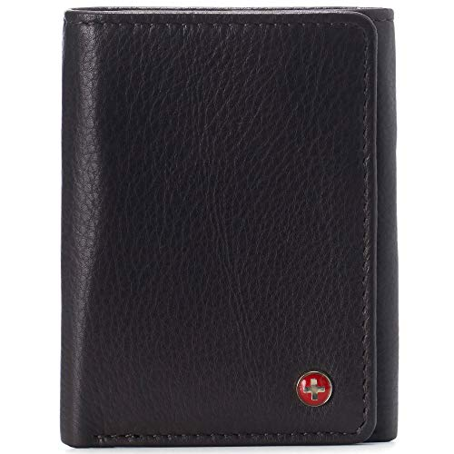 Alpine Swiss Mens Leon Trifold Wallet RFID Safe Genuine Leather Comes in a Gift Box Brown