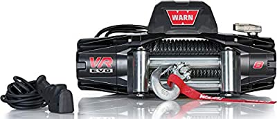 """WARN 103250 VR EVO 8 Electric 12V DC Winch with Steel Cable Wire Rope: 5/16"""" Diameter x 90' Length, 4 Ton (8,000 lb) Pulling Capacity"""