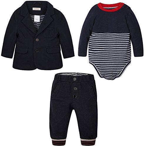 CATAWE Kinder Mantel, Baumwolle lange Ärmel ,Frühling 3 Stück Gentleman Suit Herbst ,Kinder Jacke für Taufe Geburtstagsfeier Hochzeitsfeier 80(9-12M)