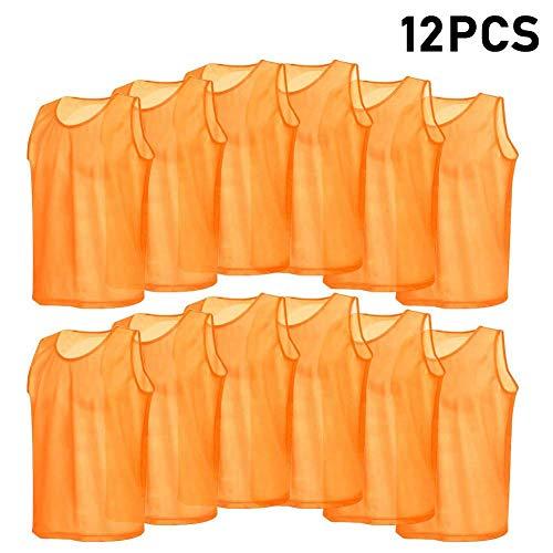 VGEBY 12pcs Gilet Calcio per Adulti, Pettorine da Allenamento per Calcio Pallavolo Pallacanestro (Colore : Arancione) calcio fratini casacca casacche uomo